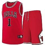 TYUIY Maillots de Basketball Masculins et féminins, pour taureaux 1 Maillot de Rose, Uniformes de Basketball de Broderie, Costumes de Formation de Ventilateurs XL
