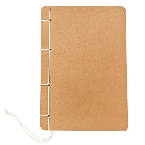 Artibetter B5 Schetsboek Met Kraftpapier Omslag en Blanco Ongevoerd Papier Handgemaakt Met Draad Gebonden Notitieboekjesplanner Voor Schoolkantoor (Wit Houtvrij Papier)