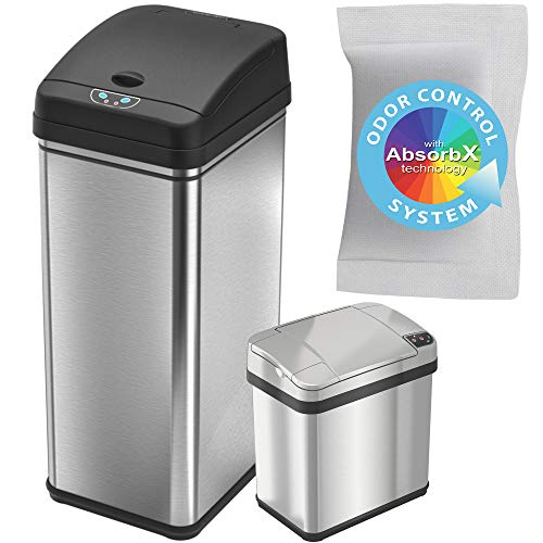 iTouchless Recycling Trash Can Combo, 13/2.5 gallon, Stainless Steel (Set of 2)