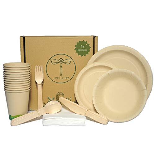 LIBELULUM Pack Vajilla Desechable Biodegradable de 12 Servicios. Incluye Vasos y Platos de Bambu, Cubiertos de Madera, 2 Cuencos y servilletas.