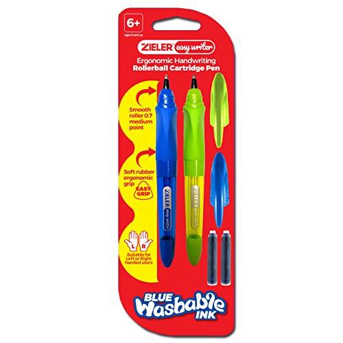 2 penne a cartucce ergonomiche per la scrittura a mano di Zieler® - per uso con mani destra e mancini - impugnatura morbida in gomma - punta liscia da 0,7 mm a livello medio - 2 cartucce d'inchiostro