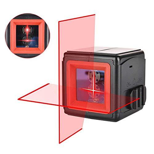 Niveau Laser Croix, HANMATEK LV2 Points Laser Horizontal et Verticale à 110° Auto-nivellement 1m incassable IP54 Anti-éclaboussures Distance de Travail 20m pour Décoration d'intérieur avec Sacoche