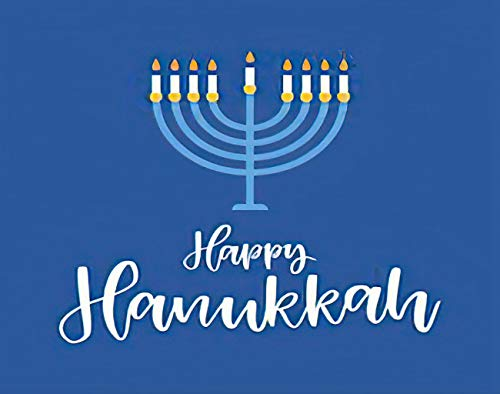 MQPPE Blue 5D DIY Diamond Painting Kits, Happy Hanukkah White Calligraphy Menorah Candle Cartoon Full Drill Painting Arts Set Craft Canvas for Home Wall Decor Adults Kids, 16' x 20'