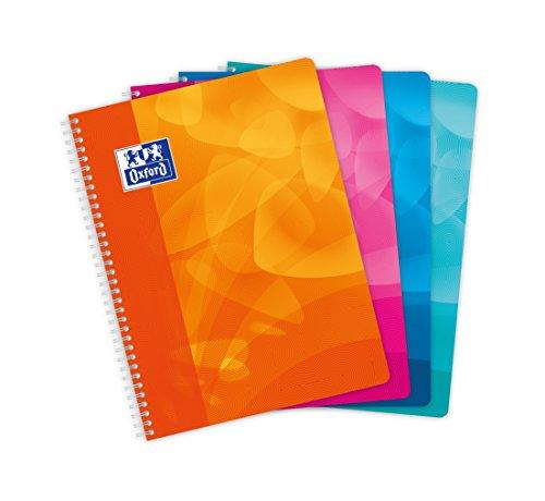 Oxford Lot de 5 cahiers avec couverture en polypropylène 100 pages grands carreaux seyès 24 x 32 cm Coloris Assortis Aléatoires