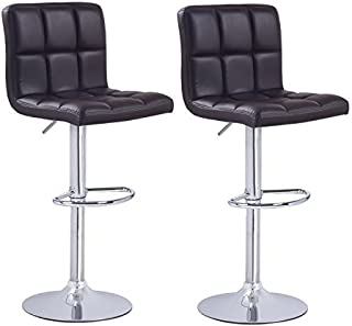 Adeco Brown Black Cushioned Leatherette Upholstery Adjustable Barstool Chair Faux Tufting Chrome Finish Pedestal Base (Set of 2)