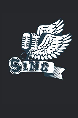 Sing: Cuaderno forrado de regalos de cantante de karaoke con micrófono vintage (formato A5, 15,24 x 22,86 cm, 120 páginas)