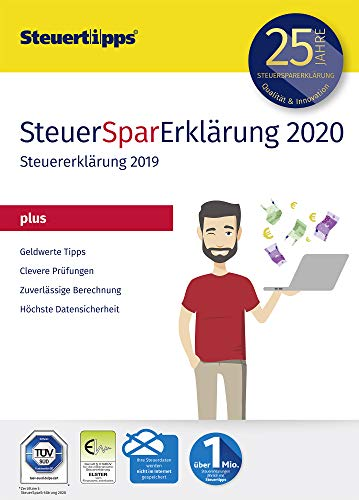 SteuerSparErklärung Plus 2020, Schritt-für-Schritt Steuersoftware für die Steuererklärung 2019, Aktivierungscode per Mail für Windows 10, 8