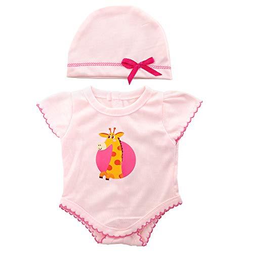 Miunana Kleidung Bekleidungsset Outfits für Baby Puppen, Puppenkleidung 35-40 cm, Overall mit Hut (Pink)