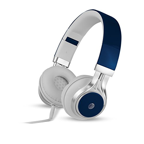 AT&T Stereo Over-Ear Headphones with Built-In Microphone, Blue (HPM10-BLU)