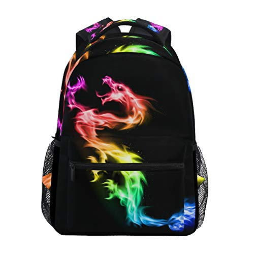 School Backpack Fire Rainbow Dragon Bookbag for Boys Girls Elementary School Casual Travel Bag Computer Laptop Daypack