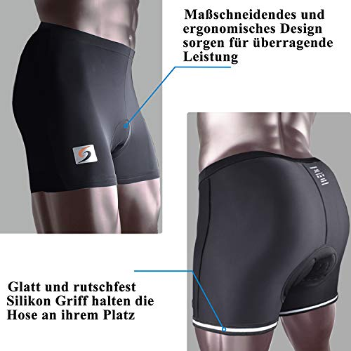 Sportout Men's 3D Padded Cycling Shorts Anti-Slip Bicycle Underwear Breathable Adsorbent MTB Shorts (3XL) - 4