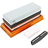 Toolly Knife Sharpening Stone Set, 400/1000 3000/8000 Double-Sided Grit Waterstone, Pro Chef Whetstone Sharpener with NonSlip Bamboo Base, Angle Guide & Flattening Stone