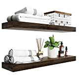 BAMFOX Floating Shelves Set of 2,Natural Bamboo Wall Shelf Wall Mounted Shelves,Wall Mount Display Rack with Large Storage L23 x W6 for Kitchen Living Room Bathroom Bedroom