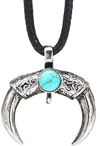 BACKZY MXJP Halskette Halskette Europäische Und Amerikanische Mode Türkis Horn Anhänger National Wind Schmuck Herren Halskette Geschenk Für Frauen Männer Geschenke Halskette