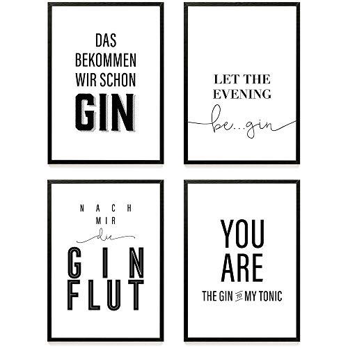 Heimlich Premium Poster Set Stilvolles Set Mit Passenden Bilder In Schwarz Weiß 4 Stück In Din A4 21x30cm Auch Mit Bilderrahmen Gin Lover