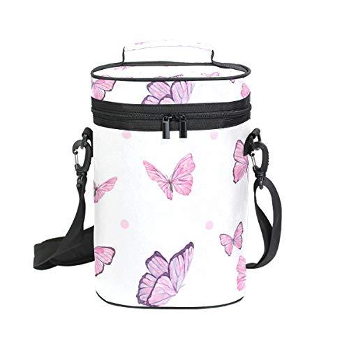 Malpela Weintasche mit fliegendem Schmetterling, für 2 Flaschen, ideal für Reisen, Veranstaltungen, Strand, Pool, Picknick, Pink