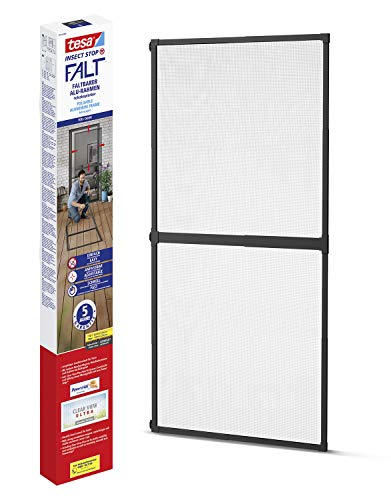 tesa Insect Stop FALT - Malla mosquitera para puertas con marco de aluminio plegable - Marco telescópico ajustable - Gris antracita - 80 cm x 170 cm a 100 x cm x 220 cm