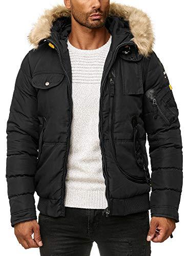 BLACKROCK Herren Winter-Jacke - Gefütterte warme Herrenjacke - Slim-Fit - mit Kapuze und abnehmbarem Kunstfell - 2 - Schwarz XX-Large