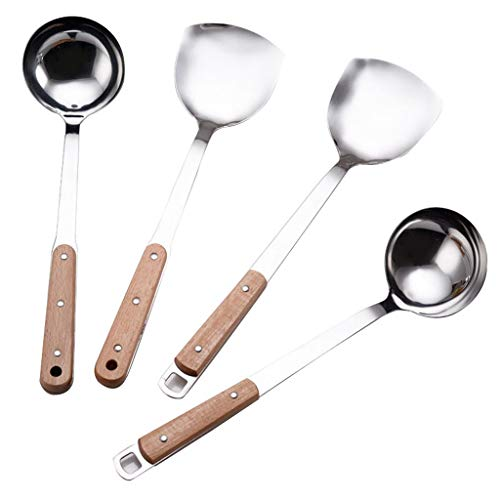 ZSP Herramientas de Cocina Resistente al Calor Utensilios de Cocina Mango de Madera cucharas Utensilios de Cocina Utensilios de Cocina Set 4 Piezas de Acero Inoxidable Utensilios de Cocina Set