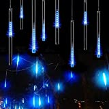Rain Drop Lights, Aukora LED Meteor Shower Lights 11.8 inch 8 Tubes 144leds, Icicle Snow Falling Lights for Xmas Halloween Party Holiday Garden Tree Christmas Thanksgiving Decoration Outdoor (Blue)