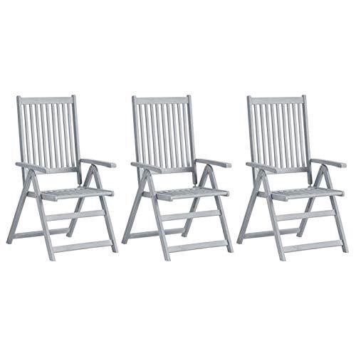 Festnight Verstellbare Gartenstühle 3 STK Klappstuhl Hochlehner Holzklappstuhl Gartenmöbel Holz Gartenstuhl Witterungsbeständig Grau Massivholz Akazie