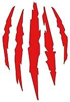 カッティングステッカー 爪痕 爪傷 引っ掻き傷 2・4 150mmX100mm レッド 赤