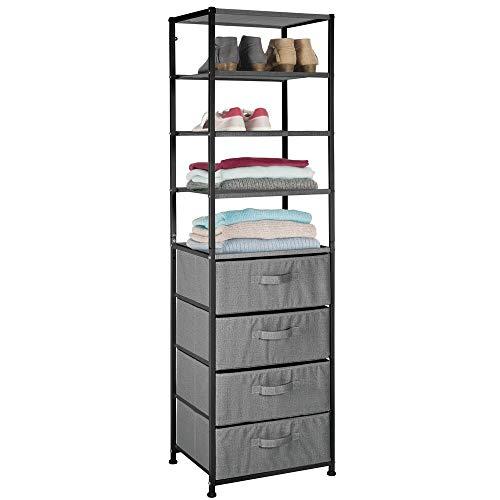 mDesign Mueble con cajones – Estantería con 4 baldas y 4 cajones de Tela – Útil estantería de Metal y Tela para Dormitorio, habitación Infantil o vestíbulo – Gris Oscuro