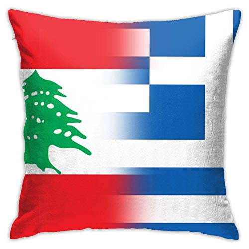 Hangdachang - Funda de almohada personalizada, diseño de bandera de Líbano y Grecia, funda de cojín decorativa para sofá de coche, decoración de 45 x 45 cm