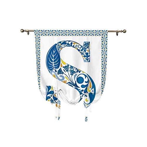 Panel de cortina con diseño de letra S, diseño de letra S, en un marco con motivos azulejo decorativos, sombra opaca para ventana, 92 x 118 cm, para ventanas del hogar, azul, amarillo y naranja