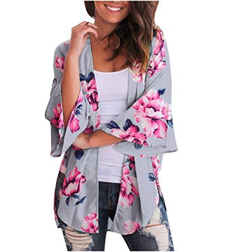 MRULIC Damen Florale Kimono Cardigan Boho Chiffon Sommerkleid Beach Cover up Leicht Tuch für die Sommermonate am Strand oder See (XL, Z1-Rot)