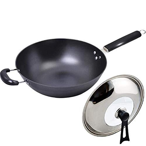 MotBach Caja de cookware Wok Sartén Sartén Pan de Hierro sin Recubrimiento, ni óxido, sartén, Cocina de Gas, Universal con sartén Segura para Tapa 32 cm