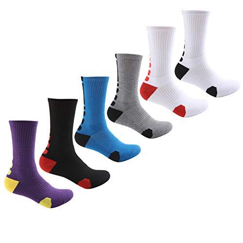 MADFLIGHT Athletic Socks for Men - Elite Cushioned Crew Socks | Basketball Soccer Hiking Ski Athletic, Dri-Fit Thick Calf Cushion Crew Sports Ankle Socks – White Black Red Grey Blue Purple Yellow