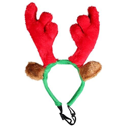 Kascha 5er Set Weihnachtsmütze - Haarreif mit Elchgeweih/Rentiergeweih für Haustiere Hund & Katze Rot Grün - Nikolausmütze