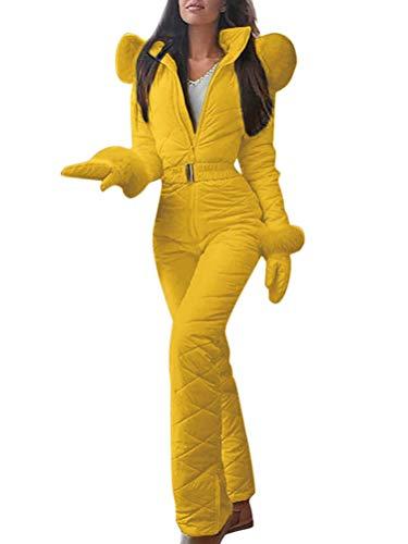 Minetom Combinaison de Ski Femme Fille Hiver Chaud Peluche Capuche Overall Neige Extérieur Sports Pantalon Ski Suit Imperméable Jumpsuit Jaune 48