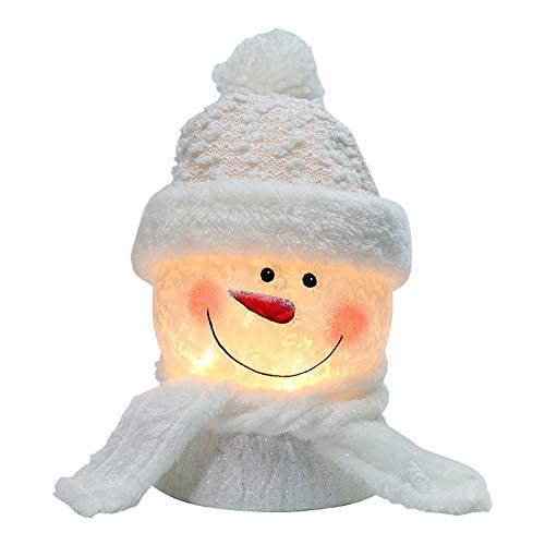 BOSQUEEN Lighted Snowman Christmas Lamp, Crystal Glass Snowballs Night Light with Santa Claus Hat for Thanksgiving Christmas Holidays Home décor & Ideal Gifts (White)