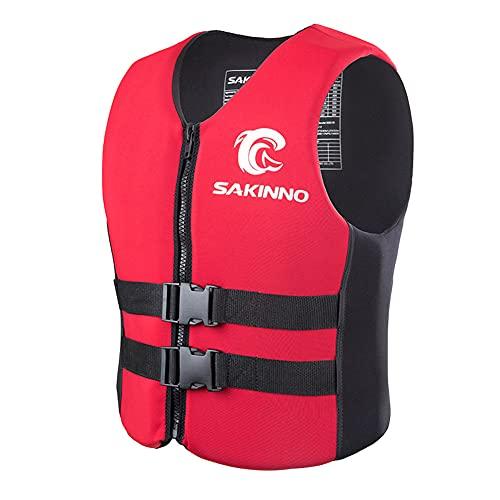 Chaleco Salvavidas, Chaleco De Flotabilidad Profesional para Niños Adultos Seguridad Flotante Chaleco Salvavidas Ajustable para Deportes Acuáticos Surf/Red/L