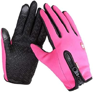 Hot Sell Unisex Men Women Winter Touch Screen Windproof Waterproof Outdoor Zipper Gloves Mittens Outwear - (Color: Red, Gloves Size: XL)