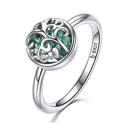 Anillo de plata de ley 925/verde de árbol de la vida familiar azul con piedra natal de nacimiento anillo de curación para mujer (6)