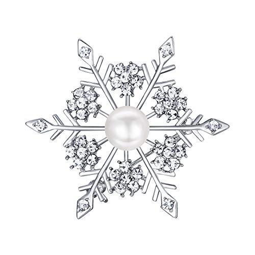 TENYE CZ Perla Simulada invierno copo de nieve flor broche Pin de fiesta claro sliver-tone