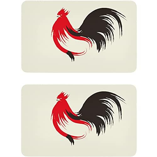 Vnurnrn Imán para lavaplatos con forma de gallo con diseño de animales vintage, placa magnética, placa decorativa para cocina, oficina, lavavajillas, indicador de lavadora de platos, 2 unidades