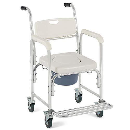 4-in-1 Rolling Casters Commode Toilet Seat Bedside Wheelchair Shower Chair w/Ebook