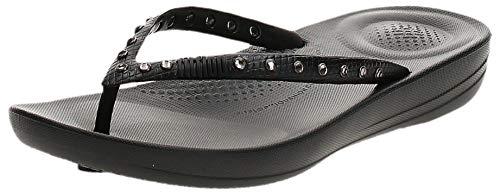 FitFlop Women's Iquishion Crystal Ergonomic Flip Flops Slide Sandal, Black, 5 M US