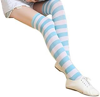 Women Stripes Thigh High Over Knee Stocking Socks