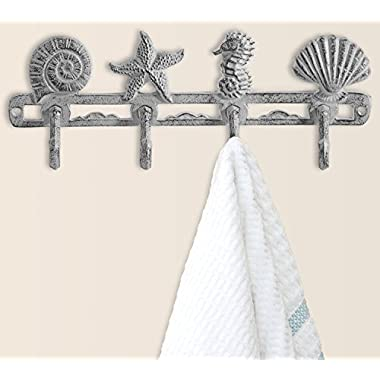 Comfify Vintage Seashell Coat Hook Hanger Rustic Cast Iron Wall Hanger w/ 4 Decorative Hooks | Includes Screws and Anchors | in Antique White | (Seashell Wall Hanger CA-1507-03)