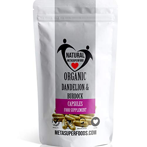 Dandelion and Burdock | (1800mg) HIGH Strength 120 Capsules | Organic | Vegan | NO Binders NO FILLERS | Non GMO | Tasteless Detox