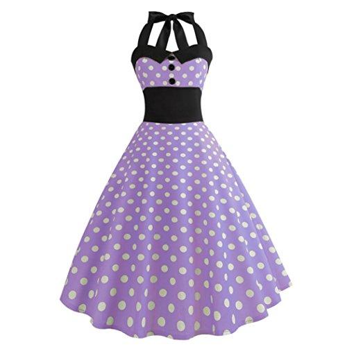LuckyGirls 50s Retro Vintage Rockabilly Kleid Partykleider Cocktailkleider Elegant Ärmellos Faltenrock (Violett, S)