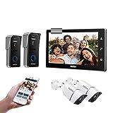 TMEZON WiFi videoportero intercomunicador Timbre Sistema de intercomunicación, Monitor WiFi de 10 Pulgadas con cámara Exterior con Cable (1M2D2C), Pantalla táctil, Control Remoto, desbloqueo de App