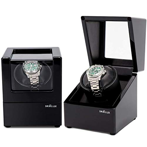 Driklux Automatic Single Watch Winder Box for Rolex with Quiet Motor - Premium Solid Wood Black Piano Exterior and Soft Flexible Watch Pillows of Black Leather