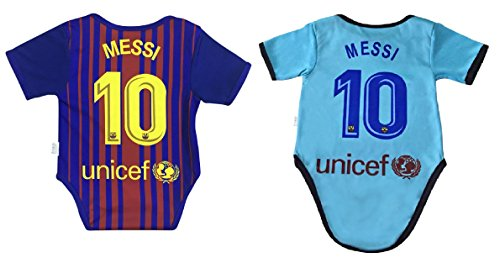 World Cup Baby New Lionel Messi #10 Soccer Jersey Baby Infant and Toddler Onesie Romper Premium Quality (12-24, Pack of 2)