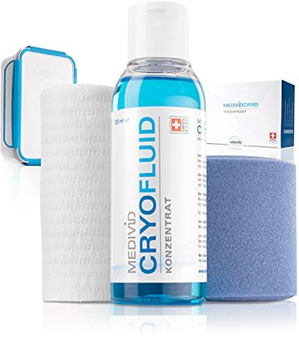 MEDIVID CRYO Therapieset - Kühlbandagen für Knie, Achillessehne, Ellenbogen, Knöchel, Wade, Handgelenk - Schmerz, Entzündung, Schwellung effektiv kühlen - langanhaltend + bequem - mit Testbandage